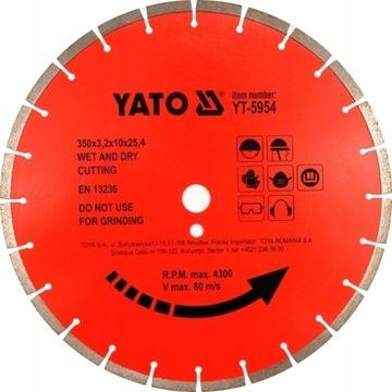 Tarcza diamentowa do betonu 350x25.4 mm YT-5954 YA
