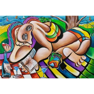 KOBIECY CHILLOUCIK - Obraz Modern Art Kubizm 60/40