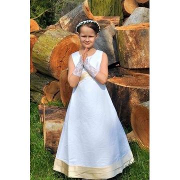 Sukienka komunijna z kokardą w pasie.