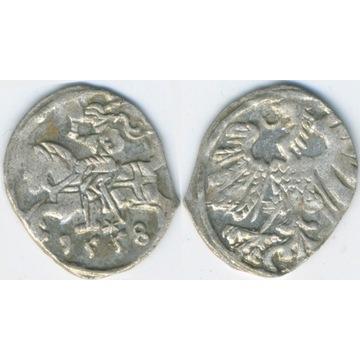 Denar Wilno 1558 -ładny połysk menniczy-