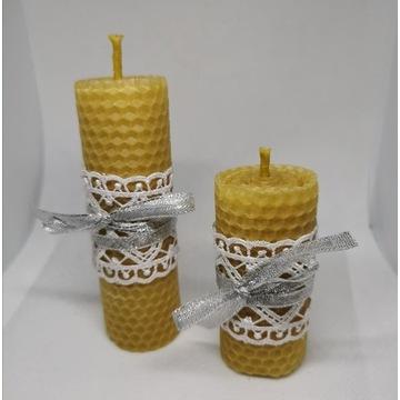 świece z wosku pszczelego, komplet