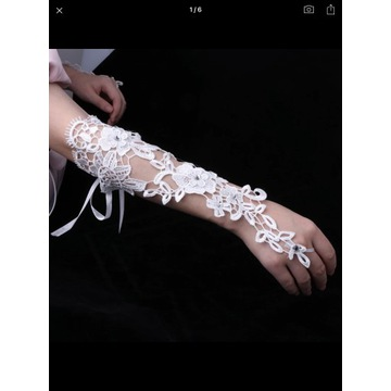Ozdobne rękawiczki ślubne xs - xxl
