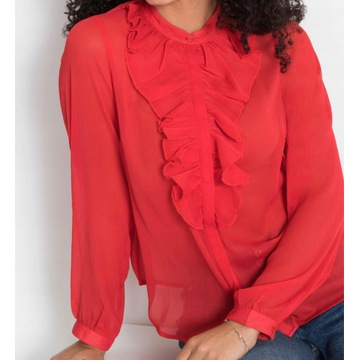 Koszulowa bluzka szyfon żabot r.L