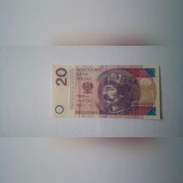 Banknot 20 zł z niskim numerem serii!!