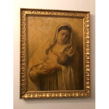 Stary obraz Maryja z dzieciątkiem olej