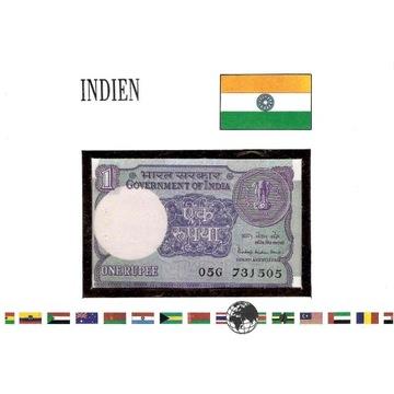 Koperta z banknotem Indie 1 rupee 1985 rok