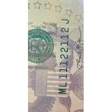 5 dolarów UNC 2013r. numer binarny