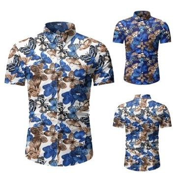 Koszula na wakacje SLIM FIT 2020 motyle M