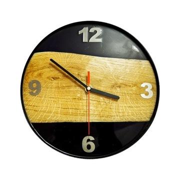 Zegar dębowy stal i zywica