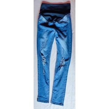 BooHoo Blue Jeansy ciążowe przetarcia guma S/36