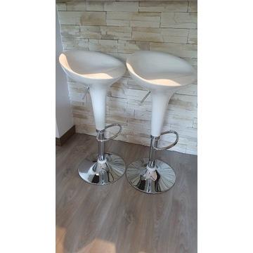 Hoker krzesło barowe regulowane biały 2szt.