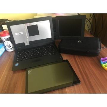Zestaw elektroniki laptop Lenovo, tablet i ramka