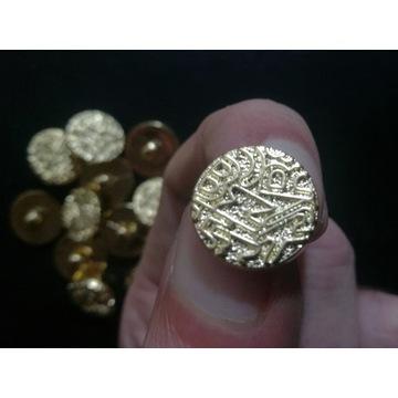 Guziki ozdobne oktągłe-złote-stopka, 15mm, 100szt.