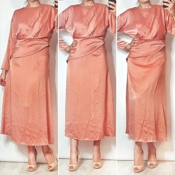 Morelowa dluga sukienka Asos, r. L, baskinka