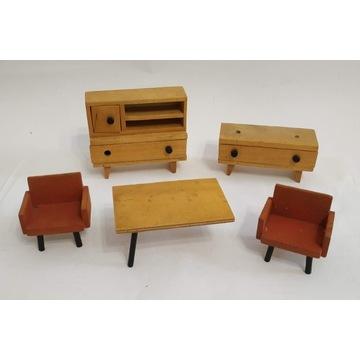 MEBLE DLA LALEK - drewniane PRL stare zabawki