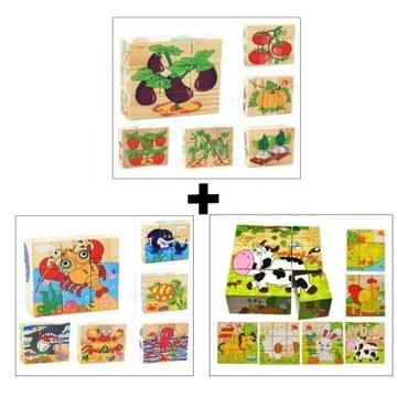 Edukacyjne Drewniane Klocki Puzzle Układanka 3szt.