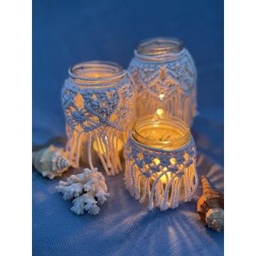 Lampiony makramowe, zestaw makramowe świeczniki
