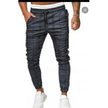Spodnie dresowe jogger w kratę -Zaful  Dark Grey M