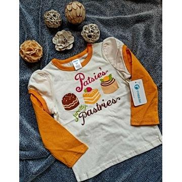 Bluzeczka dla dziewczynki długi rękaw ciasteczka