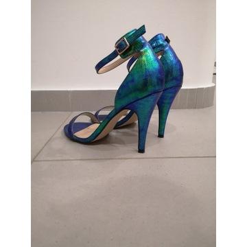 Sandały szpilki kameleon Reserved skóra węża 40