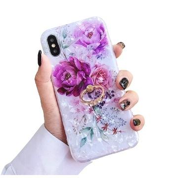 Etui w kwiaty z ringiem na iPhone 12 PRO