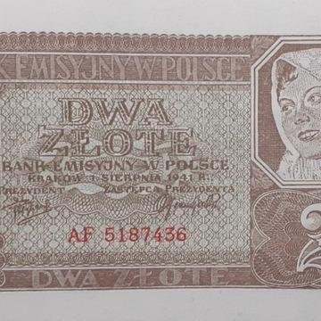 Banknot 2zł 1941  Oryg. stan UNC seria AF