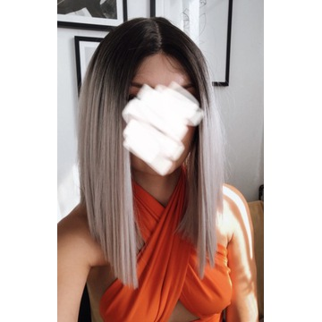 Szara peruka long bob lace front prosta gratis
