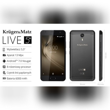 Smartfon Kruger&Matz Live 5 Plus czarny 64 GB