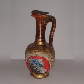 Piękny stary ręcznie malowany dzban ceramiczny