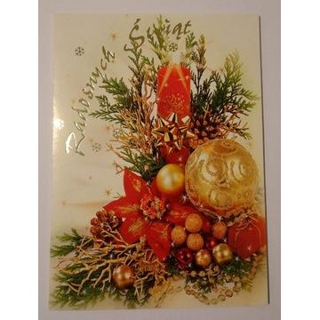 Kartka Boże Narodzenie świeca bombki szyszki