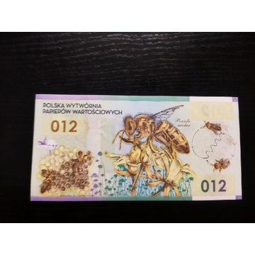 Banknot kolekcjonerski testowy Pwpw Pszczoła Miodn
