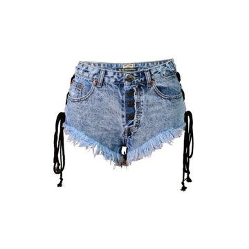 Jeansowe spodenki, szorty wiązane S