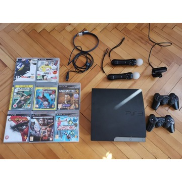 PlayStation 3 Slim  + 2 Pady + 2 Move + 10  gier