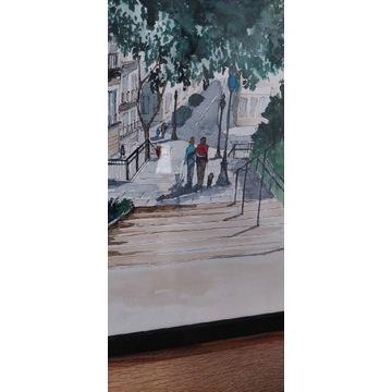 Obraz akwarela ulica miasto a3