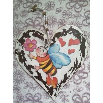 Serce serduszko Decoupage pszczółka kwiatek