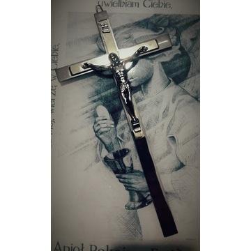 Krzyż ze stali szlachetnej na ścianę 25cm