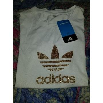 Koszulka damska adidas zlote logo rozmiar XL
