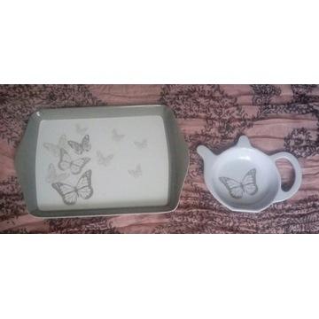 Mini taca na kanapki + podstawek na herbatę 2 kpl