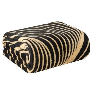 Koc bawełniany VICTORIA 3 czarny beżowy 150x200