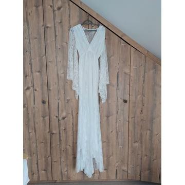 Biała koronkowa suknia XS - sesja ciążowa