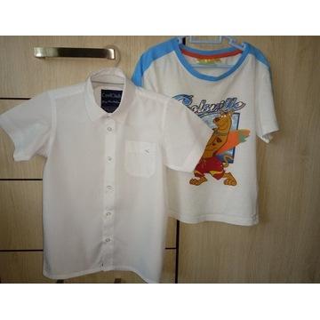 Biała koszula galowa wizytowa 116+ koszulka gratis
