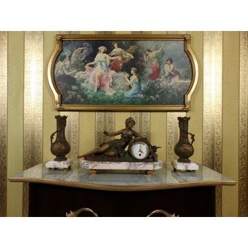 Zegar kominkowy figuralny z przystawkami XIX