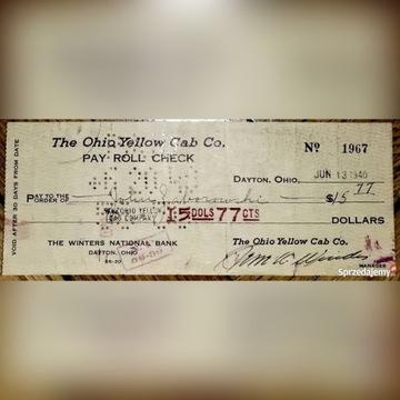 Check Czek USA 1940 r The Ohio Yellow Cab Winters