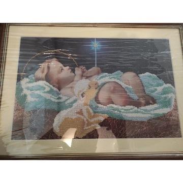 Jezus w żłobku haft koralikowy