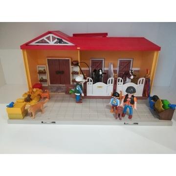 Playmobil zestaw stadnina koni figurki domek psy