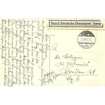 Kartka wysłana 25.11.1939 Siedlce