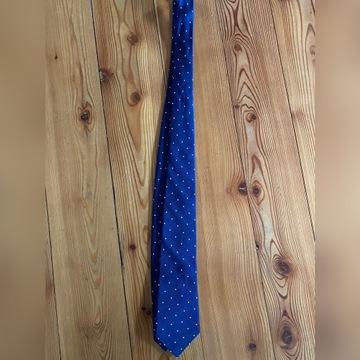 Krawat T.M. Lewin, granatowy polka dot