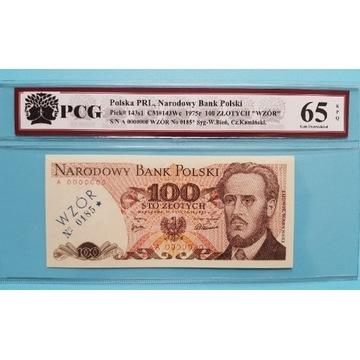 100 złotych 1975 rok WZÓR Seria A Stan UNC