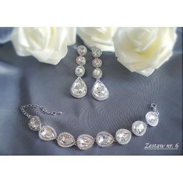 Komplet biżuteria ślubna wieczorowa cyrkonie Z6