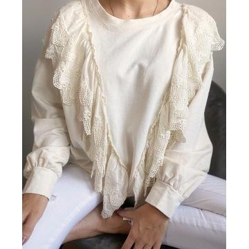 Bluza z ozdobną falbaną ECRU